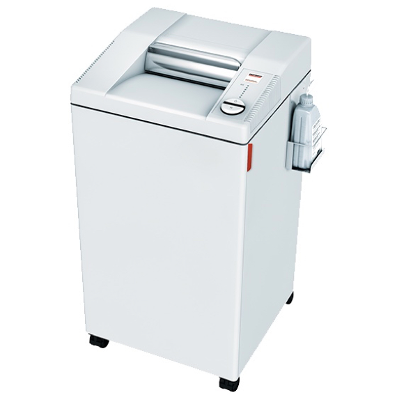 A large, white paper shredder with a white background