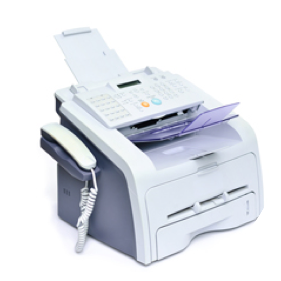 A picture of a fax machine with an all-white background.